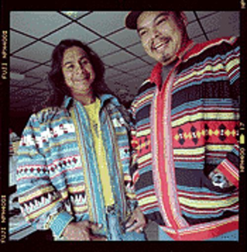Miccosukee chic: Renee's husband, William Osceola (left), and his cousin, Douglas McKinley Osceola, sport two of her custom-made jackets