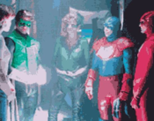 A scene from the never-aired -- thank God -- Justice League of America pilot made for CBS-TV in 1997