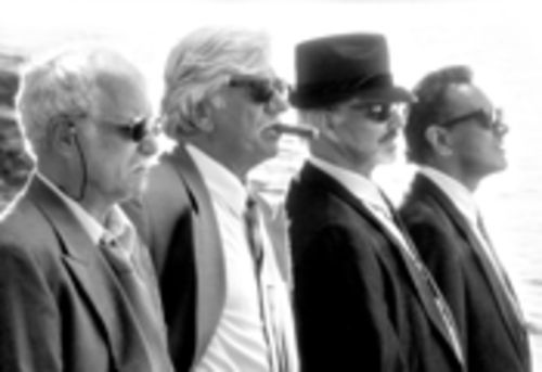 Four grumpy old mobsters, from left: Richard Dreyfuss, Seymour Cassel, Burt Reynolds, and Dan Hedaya