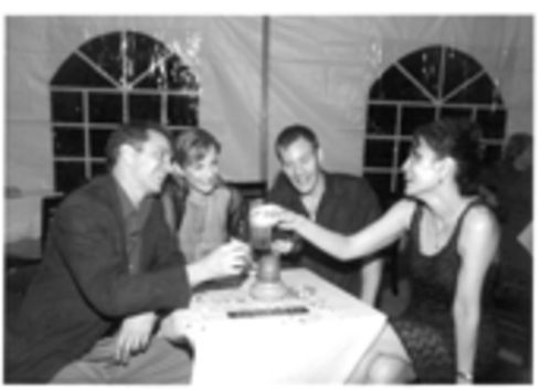 A different cast of Friends (left to right): Michael McKenzie, Susanna Frazer, Peter Bradbury, and Gayton Scott