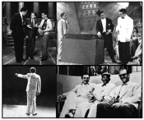 Clockwise from top left: Alvarez Guedes was inspired by Mexican funnyman Mario Moreno, better known as Cantinflas; in the Fifties he played a drunk for Cuban audiences and did it with class; the cool cat sharing a few laughs with Cuban singer Rolando La Serie and composer Ernesto Duarte; letting the audience have it at Carnegie Hall
