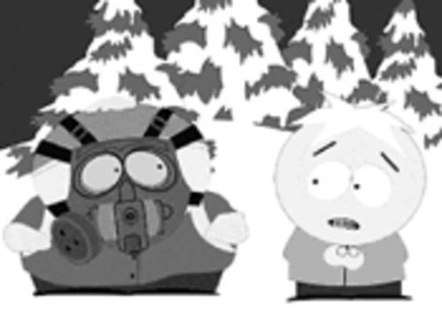 "It's a gas, gas, gas mask: In the South Park episode ""Osama bin Laden Has Farty Pants,"" Cartman explains to Butters the need for protection."