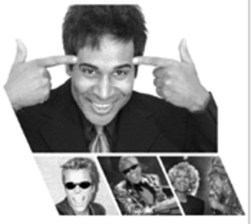 Julio Sabala (above) in his many guises (below from left to right): Ricky Martin, Ray Charles, and with the real Celia Cruz