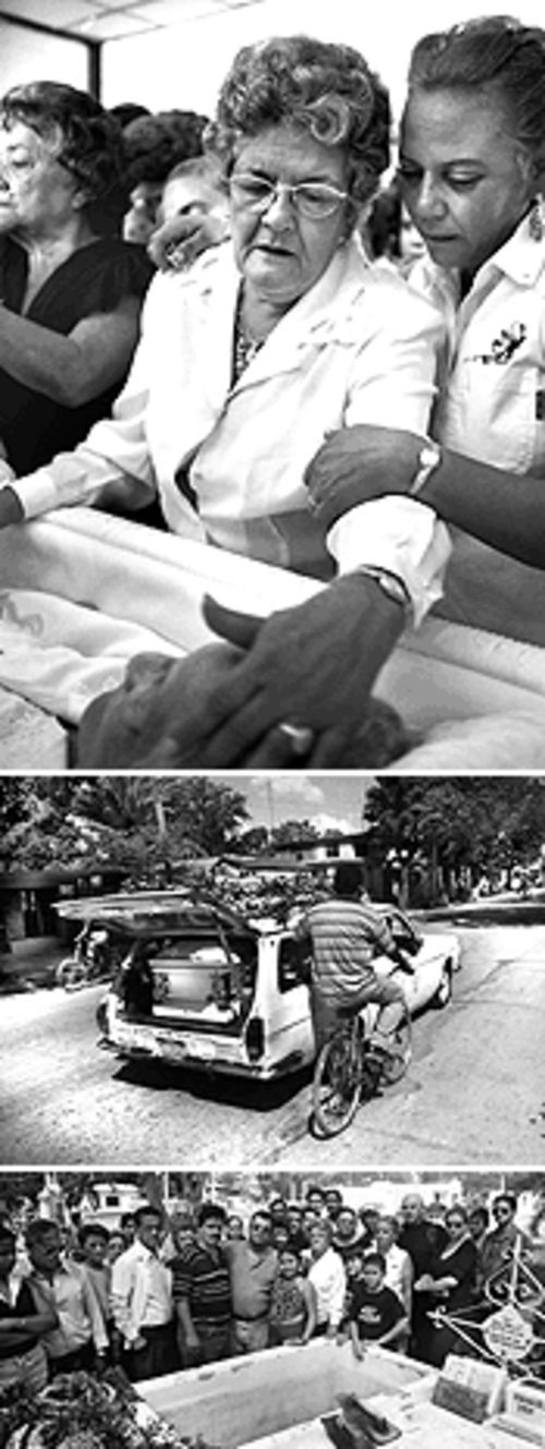 Lesbia Gonzalez, Tony's mother, says goodbye to her mother (top); a bicyclist hitches a ride on the Russian station wagon carrying abuela's body to the cemetery (center); Tony, his mother, and other family members gather before abuela is entombed (bottom)