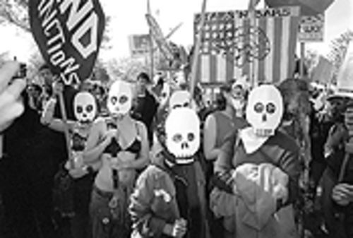 Antiwar marchers in Washington, D.C.