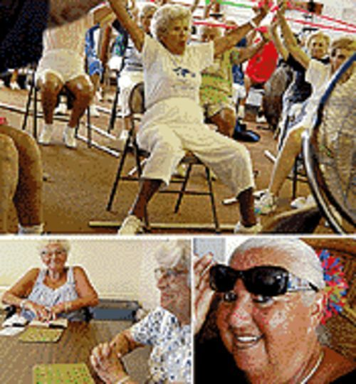 Millie Schiller, fit at 92 (top); Juci Horsky, lucky at bingo (above left); Betty Grynwald won't let the Lido go (above right)