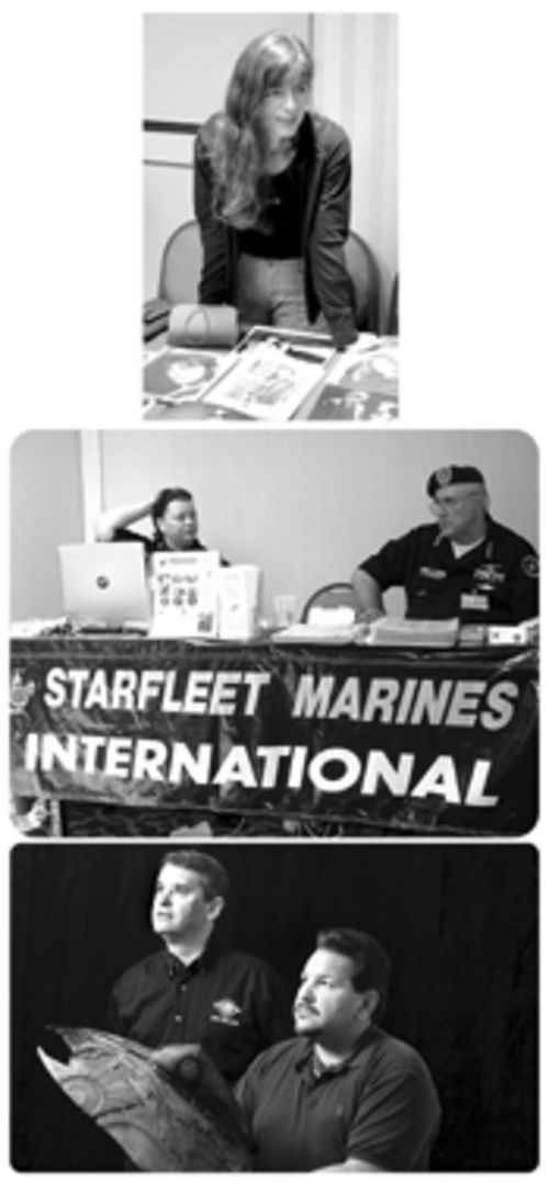 From top to bottom: Mira Furlan, who played Delenn  on Babylon 5, meets fans at Vulkon. Starfleet  Marines  International, a fan club, sets up a booth to attract new  members. Vulkon organizers are, left, Joe Motes and  Fernando Martinez