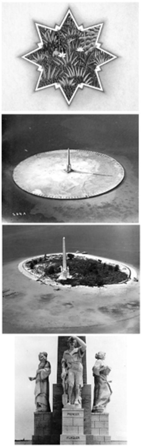 Some folks see how Monument Island went from 1922  (top middle) to 1969 (bottom middle) and ask, why?  Behar and Marquardt imagine it as it could be and ask,  why not?