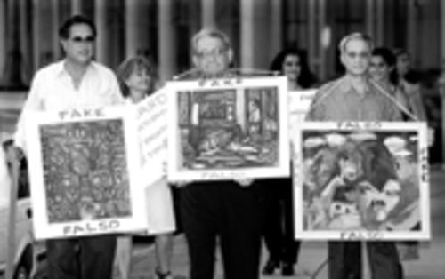 Cernuda and friends protest in September 1998 outside the Alfredo Martinez Gallery in Coral Gables