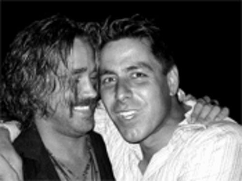 Joey Giordano (right) mugs with Colin Farrell