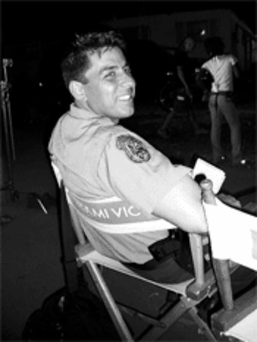 Joey relaxes on the set of Miami Vice