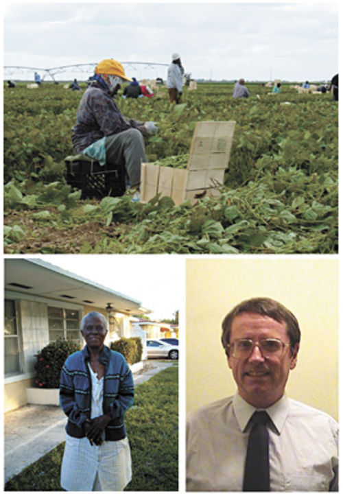 Claircina Sinois (below left) is 71 years old. She is one of the more than 1,000 workers whom Greg Schell (below right), a lawyer with the Migrant Farmworker Justice Project, alleges were paid below living wages in bean fields farmed by John Torrese and two of his companies.