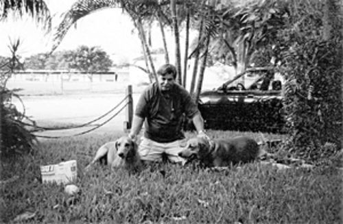 Daniel Rogers with his Rhodesian ridgebacks, Max and Grady