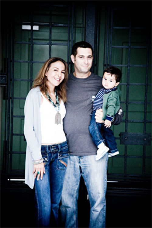 Malika Oufkir and Eric Bordreuil during a brief visit with their son Adam
