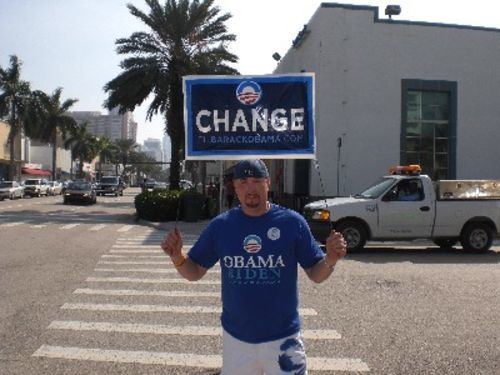 Obama supporter in Sunny Isles Beach.