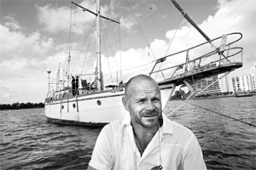 Shawn Beightol's home: a 40-foot wooden sailboat  anchored off the 79th Street Causeway