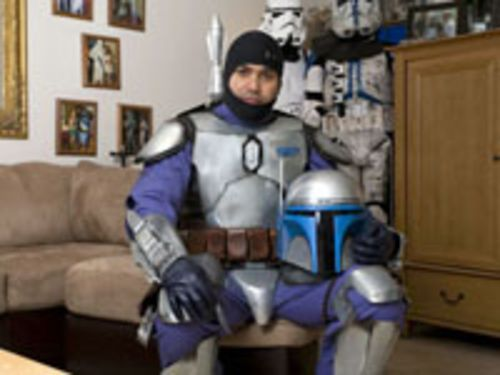 Ricky Torres, executive officer of the 501st Legion of stormtroopers, poses as Jango Fett. Torres has also constructed a clone soldier, a blue variant, a tie pilot, and Darth Vader.