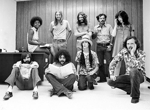 Jerry Powers (left, sitting) poses with his Daily Planet staff. They ruffled a lot of feathers in the late '60s and early '70s.