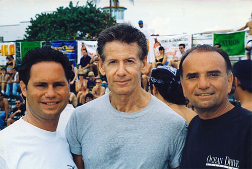 Jason Binn (left), fashion designer Calvin Klein, and Jerry Powers enjoy the sun during Ocean Drive's Volleypalooza.