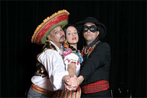 Oscar Cheda (left), Janet Dacal, and Christopher A. Kent in  Five Course Love