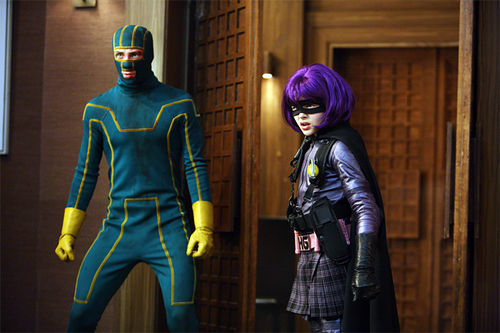 Kick-Ass (Aaron Johnson) and Hit Girl (Chloe Grace Moretz)