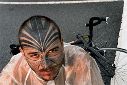 David Clinger, DeCanio's partner in misfortune, with his  Maori-inspired face tattoo. Clinger has since had part of the  tattoo removed