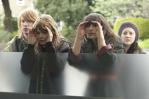 Domhnall Gleeson (left), Carey Mulligan, Keira Knightley, and Andrea Riseborough in Never Let Me Go.