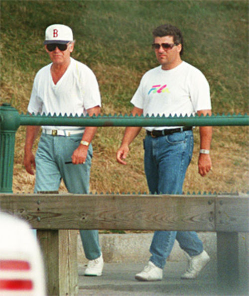 Whitey Bulger (left, in the Boston cap) and his associate Kevin Weeks