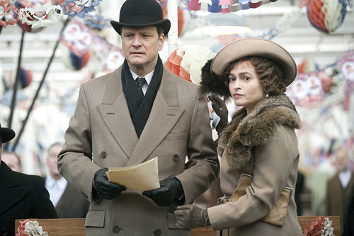 Colin Firth as King George VI and Helena Bonham Carter as the Queen Mother