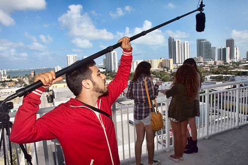 Boom operator Felix Alvarez records sound for the film.