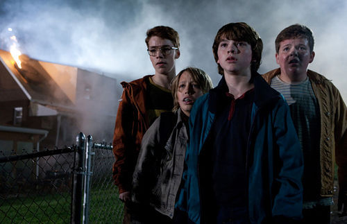 Gabriel Basso (left), Ryan Lee, Joel Courtney, and Riley Griffiths in Super 8