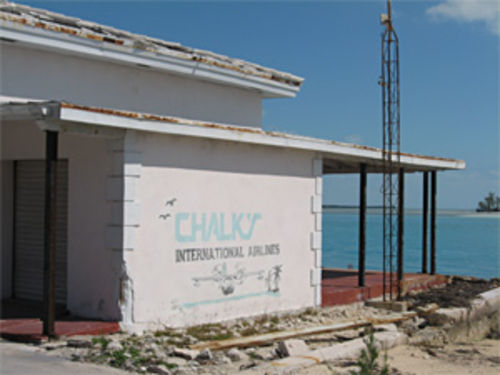 After landing in Bimini, Chalk's seaplanes taxied past the squat, two-story building that served as a terminal.