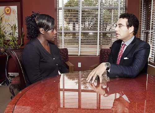 Melvina Durden and her attorney, Spencer Aronfeld
