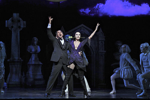 Douglas Sills (left) as Gomez and Sara Gettlefinger as Morticia in The Addams Family.