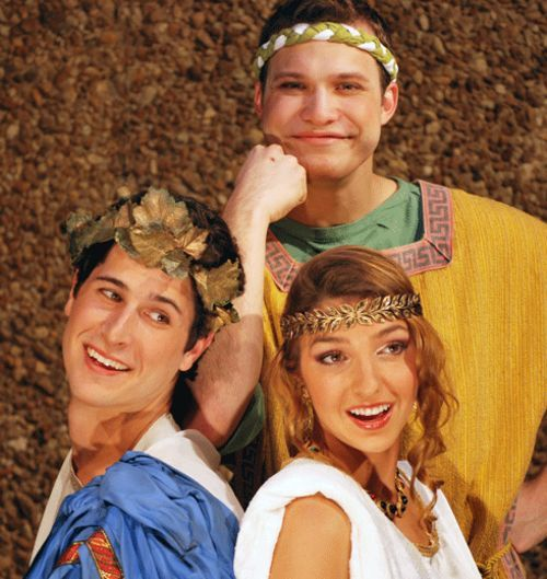 Adam Maggio (Hero), Jacob Sharf (Pseudolus), and Amandina Altomare (Philia) in A Funny Thing Happened on the Way to the Forum, at UM's Ring Theatre.