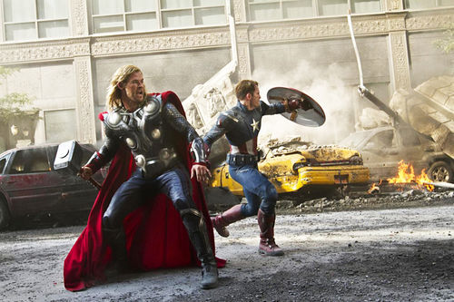 Chris Hemsworth as Thor and Chris Evans as Captain American in Joss Whedon's The Avengers.