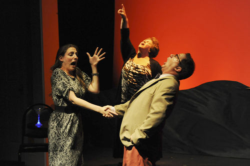 Katherine Wright (left), Elizabeth Dimon, and Stephen Trovillion in The Man From Mars.