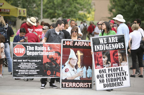 Protesters demonstrate against Arizona Sheriff Joe Arpaio's tactics.