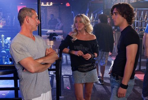 Director Adam Shankman (left) with actors Julianne Hough and Diego Boneta on the set of Rock of Ages.