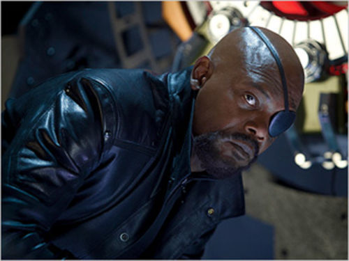 Samuel L. Jackson as Nick Fury in The Avengers.