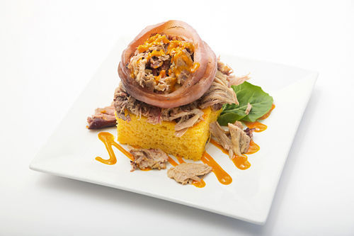 Pulled pork on corn bread. Click here for a slideshow.