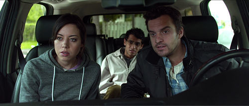 Aubrey Plaza (left), Karan Soni, and Jake M. Johnson in Safety Not Guaranteed.