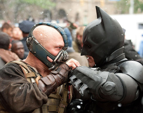 Tom Hardy (left) and Christian Bale in The Dark Knight Rises.