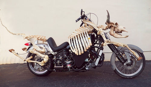 WVO (waste veggie oil) diesel motorcycle built by Billie Grace Lynn, 2012.