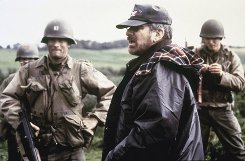 Spielberg on the set of Saving Private Ryan.