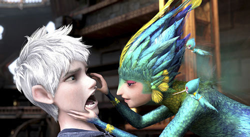 Jack Frost (voiced by Chris Pine) and Tooth (voiced by Isla Fisher) in DreamWorks Animation's Rise of the Guardians.