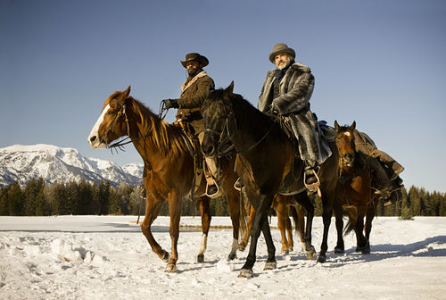 Jamie Foxx as Django and Christoph Waltz as Dr. King Schultz in Django Unchained.