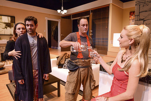 Amy McKenna (left), Nicholas Richberg, Todd Allen Durkin, and Betsy Graver in the Zoetic Stage production of All New People.