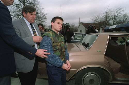 Jessie Misskelley on February 4, 1994, the day he was convicted of the triple murder.