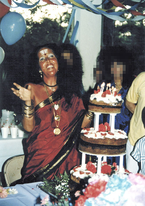 Ma Jaya celebrates her birthday in the late '80s. Her clothing reflected her interfaith teaching.